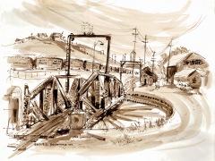 'SLO Roundhouse' Joan Sullivan 14x17 sepia n ink wash