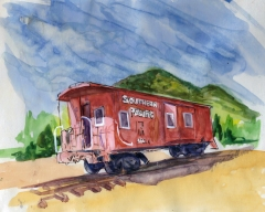 'SP Caboose' Joan Sullivan 12x14 watercolor pen n ink