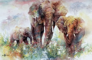 elephants - watercolor