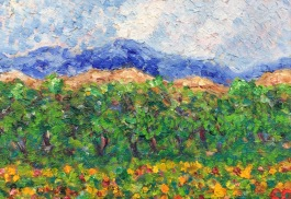 Mountain Orchard by Charlotte D'Aigle, oil, 5x7