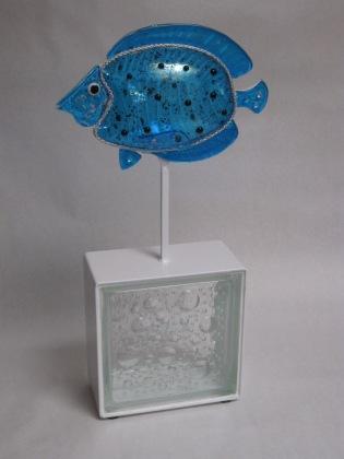 Larry Le Brane_Blue Fish 1_Fused glass, metal