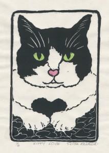Tricia Kitty Love lino cut