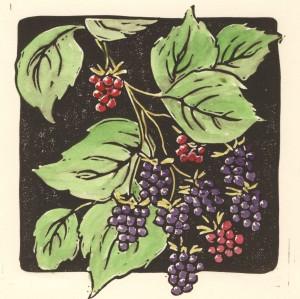 Tricia SummerBerries(6x6)Linocutwithwatercolor